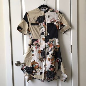 Floral mid zip up dress - PETITE